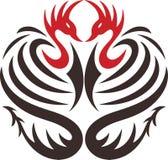 Tatuagem de dois pássaros decorativos ilustração do vetor