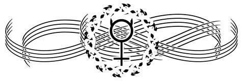 Tatuagem de Mercury do planeta em preto e branco isolada ilustração stock