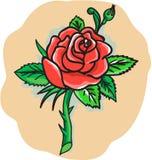 Tatuagem de Rose Flower Bud Leaves Thorn ilustração do vetor