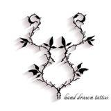 Tatuagem desenhado à mão com sombra Imagens de Stock Royalty Free