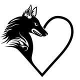 Tatuagem do animal de estimação do amor do coração do cão ilustração royalty free