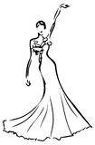 Tatuagem do branco e do preto de vestido do casamento do projeto Fotos de Stock