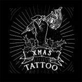 Tatuagem do crânio do Natal do vintage ilustração do vetor