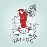 Tatuagem do crânio do Natal do vintage ilustração royalty free
