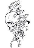 Tatuagem do crânio e da Rosa Fotografia de Stock