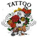 Tatuagem do crânio e das flores ilustração stock