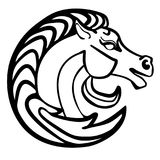 Tatuagem do logotipo da cabeça de cavalo da ilustração do vetor preto e branco ilustração stock