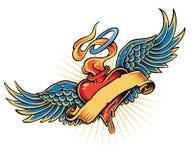Tatuagem flamejante do coração ilustração stock