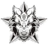 Tatuagem preto e branco de uma cabeça do lobo com estrela Imagem de Stock