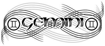 Tatuagem preto e branco dos gemini da palavra isolada ilustração stock