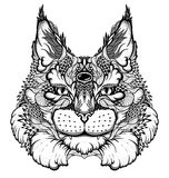 Tatuagem principal do gato/lince estilo psicadélico/zentangle Fotos de Stock