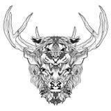 Tatuagem principal dos cervos e do tigre psicadélico, estilo do zentangle Imagens de Stock Royalty Free