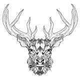 Tatuagem principal dos cervos psicadélico, estilo do zentangle Fotos de Stock