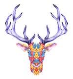 Tatuagem psicadélico da cabeça dos cervos Foto de Stock