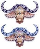 Tatuagem, touro, cabeça do búfalo com chifres Fotografia de Stock Royalty Free