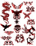 Tatuagem tribal com os 2 dragões diferentes fotos de stock royalty free