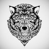 Tatuagem tribal da cabeça do lobo Imagens de Stock Royalty Free