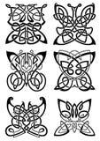 Tatuagens celtas de borboletas pretas Imagem de Stock