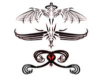 Tatuagens de dragões fantásticos. Foto de Stock Royalty Free