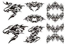 Tatuagens dos símbolos do lobo e quadros tribais dos lobos Fotografia de Stock Royalty Free