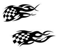 Tatuagens tribais com bandeira checkuered Fotografia de Stock Royalty Free