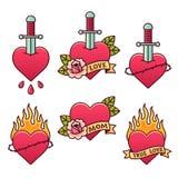 Tatuaggi tradizionali messi illustrazione di stock