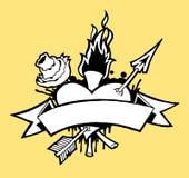 Tatuaggio 01 b/w del cuore Fotografie Stock Libere da Diritti