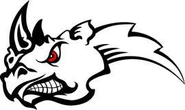 Tatuaggio arrabbiato del rinoceronte tribale Immagini Stock