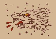 Tatuaggio capo del lupo Immagini Stock Libere da Diritti