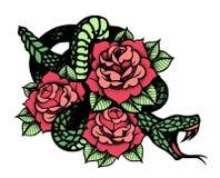 Tatuaggio con la rosa ed il serpente Inchiostro nero tradizionale di stile del punto illustrazione vettoriale