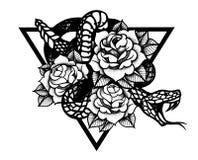 Tatuaggio con la rosa ed il serpente con la struttura sacra della geometria royalty illustrazione gratis