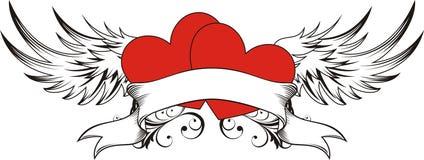 Tatuaggio degli amanti del cuore Fotografia Stock Libera da Diritti