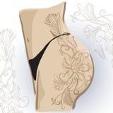 Tatuaggio dei gigli e delle farfalle sul women& x27; coscia di s illustrazione vettoriale