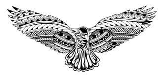 Tatuaggio del corvo con gli ornamenti maori di stile Fotografia Stock Libera da Diritti