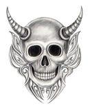 Tatuaggio del diavolo del cranio di arte Fotografia Stock