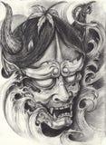Tatuaggio del giapponese di Kabuki illustrazione di stock