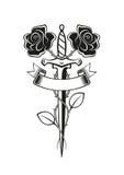 Tatuaggio del pugnale delle rose royalty illustrazione gratis