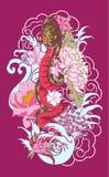 Tatuaggio del serpente con il fiore della peonia e di Sakura Fotografia Stock Libera da Diritti
