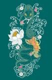 Tatuaggio del serpente con il fiore della peonia e di Sakura Fotografia Stock