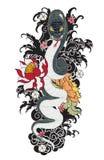 Tatuaggio del serpente con il fiore della peonia e di Sakura Immagini Stock