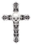 Tatuaggio dell'incrocio del cranio di arte Fotografie Stock