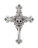 Tatuaggio dell'incrocio del cranio di re di arte Immagine Stock Libera da Diritti