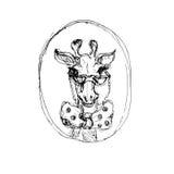 Tatuaggio della giraffa dei pantaloni a vita bassa Fotografia Stock Libera da Diritti