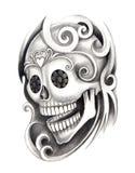 Tatuaggio della testa del cranio di arte Fotografia Stock