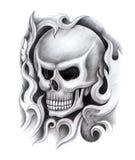 Tatuaggio della testa del cranio di arte Fotografia Stock Libera da Diritti