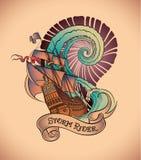 Tatuaggio della vecchia scuola - cavaliere della tempesta Fotografie Stock