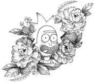 Tatuaggio dettagliato Rick divertente dell'inchiostro nero in composizione floreale illustrazione vettoriale
