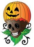Tatuaggio di Art Surreal Pumpkin Skull Halloween illustrazione vettoriale