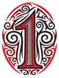 Tatuaggio di numero uno royalty illustrazione gratis
