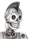 Tatuaggio di punk del cranio di arte Immagini Stock Libere da Diritti
